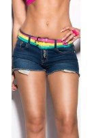 Sexy KouCla Jeans-Shorts with three belts Jeansblue