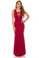 Sexy RedCarpetLook! Evening Gown With Mesh & Lace Bordeaux