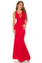 Sexy RedCarpetLook! Evening Gown With Mesh & Lace Red