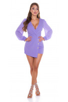 Sexy Wrap-around look Overall with puffed Sleeves Lilac
