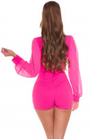 Sexy wikkel-around look overall met puffed mouwen roze