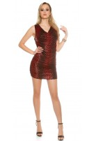 Party mini dress with lace and heaped Red