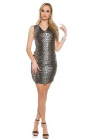Party mini dress with lace and heaped Silver