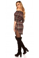 Sexy mini dress checkered with belt Red