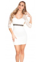 Sexy KouCla mini dress with lace and stones White