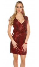 Party mini dress in wrap look snake print Red