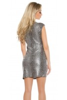Party mini dress in wrap look snake print Silver