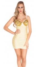 Sexy mini jurkje met cups en spikes champagne