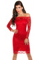 Sexy KouCla Carmen Neck Midi-Dress with lace Red