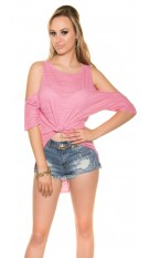 Sexy KouCla High Low Shirt free shoulder Fuchsia