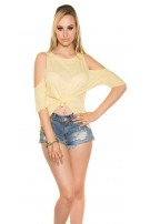 Sexy KouCla High Low Shirt free shoulder Yellow