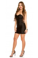 Sexy KouCla Bandeau Party mini dress with stones Black
