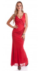 Red Carpet Look! Sexy KouCla Kleid w. pearls Red