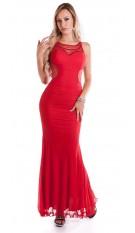 Rode loper look! sexy jurk met gaasstof rood