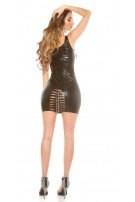 Sexy KouCla GoGo mini dress with buckles Black