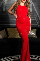 Sexy KouCla Party glitter dress with peplum Redsilver