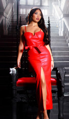 Sexy leder look maxi jurk gewatteerd rood