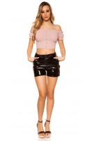 Sexy wetlook high waist shorts w. belt Black