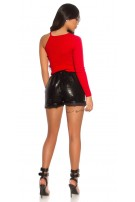 Sexy leatherlook Shorts snake leather look w. belt Black