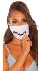 Trendy gezichtsmasker met ritssluiting print wit