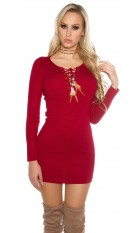Knit mini dress with sexy decollet�e Bordeaux
