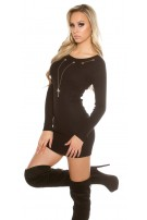 Knitted dress with detachable chain Black