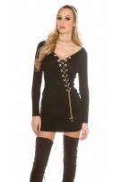 Knitted dress with decoration chain Black