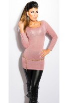 Sexy KouCla Lurex-Jumper with cutout on back Antiquepink