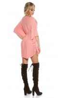 bat sleeve knit dress Coral