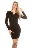 Sexy knit dress with V-cut and lacing Black