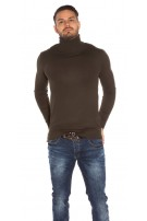Trendy men turtleneck sweater Khaki