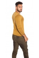 Trendy Men s Sweater in Used Look Mustard