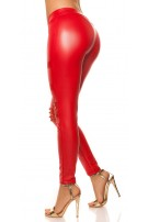 Sexy KouCla leatherlook-leggings with studs Red
