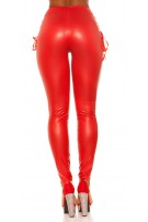 Sexy KouCla Wetlook Leggings With Lacing Red