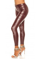 Sexy Party leatherlook pants with glitter Bordeaux
