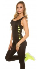 Trendy Workout Tanktop with Camouflage Yellow