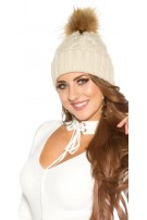 Trendy knitted cap w.removeable fake fur PomPom Beige