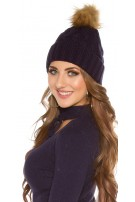 Trendy knitted cap w.removeable fake fur PomPom Navy