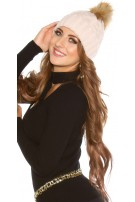 Trendy knitted cap w.removeable fake fur PomPom Pink