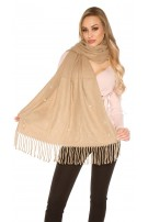 Trendy XL scarf with beads and rhinestone Cappuccino