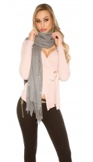 Trendy XL scarf with beads and rhinestone Grey