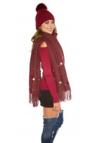 Trendy XL scarf with beads and PomPoms Bordeaux