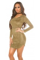 Sexy suede look mini dress Khaki