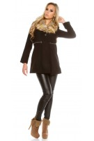 Trendy KouCla coat with fake fur collar Black