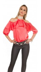 Sexy Cold Shoulder Shirt with Volant satin look Coral