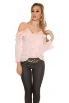 Sexy Carmenlook Blouse with flounce and lace Pink