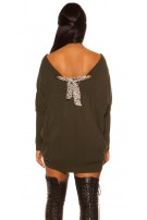 Trendy XXL knit dress with bow Green