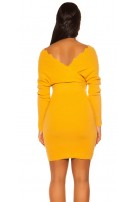 Sexy bat sleeve knit dress Mustard