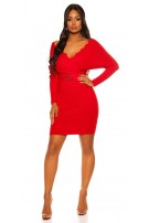 Sexy bat sleeve knit dress Red