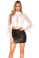 Sexy leatherlook mini skirt with pockets Black